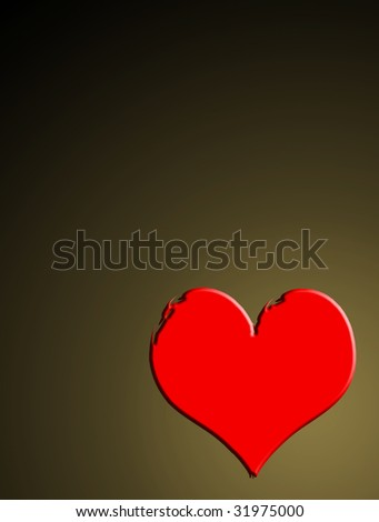 red hearth on brown background. Abstract illustration