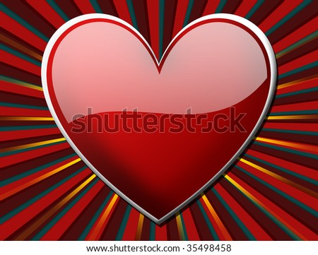 Red hearth over dynamic lines background. Illustration - stock photo