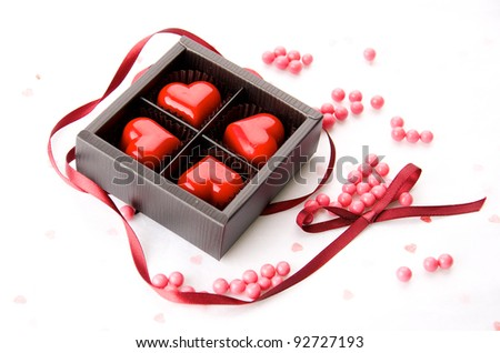 red hearts chocolate