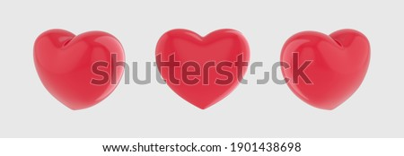 Red hearts different 3 rotation. Valentines day red sweet balloon hearts. Red glossy shiny heart shapes on white background with reflection effect. Like symbol. Romantic Element. 3d rendering