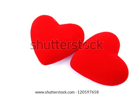 Red hearts  isolated on white background.