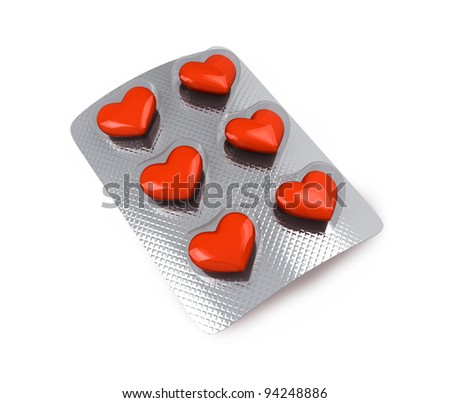 Red hearts love pills