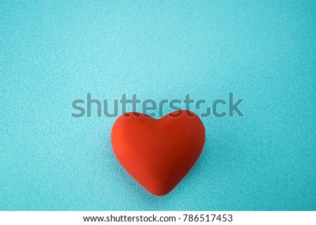 Red hearts on a blue plastic background style soft for Valentine's day. #786517453
