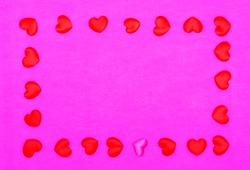 Red hearts on a red pink background. The view from the top. Pattern. valentine's day. Background.Texture. copy space.