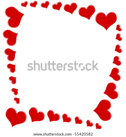 Red hearts on a white background, heart background #55420582