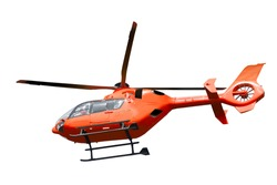 Red helicopter isolated on white background