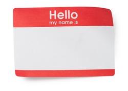 Red Hello Name Tag on White