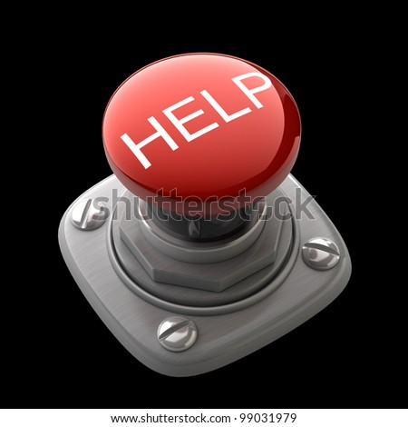 Red help button Isolated High resolution. 3D image - stock photo