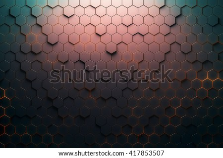 Red hexagon pattern. 3D Rendering