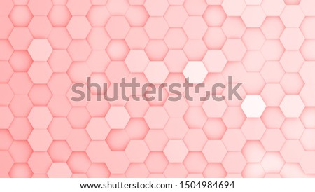 Red hexagonal grid in a random pattern. 3D computer generated image.