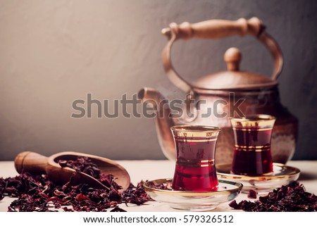 Red Hibiscus tea in turkish style