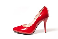 Red high heel women shoe isolated on white