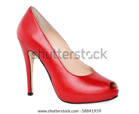 red high heeled shoe
