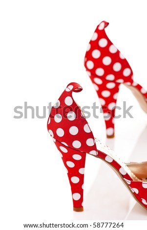Red High Heels Ladies Shoes with polka dots