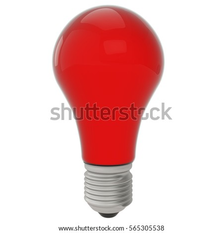 Red High Quality Bulb Isolated on White Background 3D Illustration, 3D Render