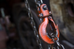 red hoist chain as vintage background