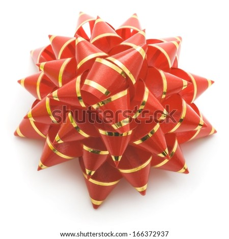Red holiday gift bow on white background