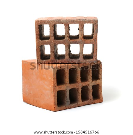 Red hollow brick on white background Foto stock ©