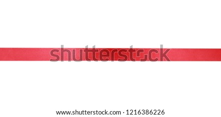 Red horizontal flat ribbon isolated.