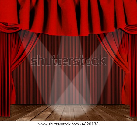 Red Horozontal Draped Theatre Curtains on Black With 3 Spotlights