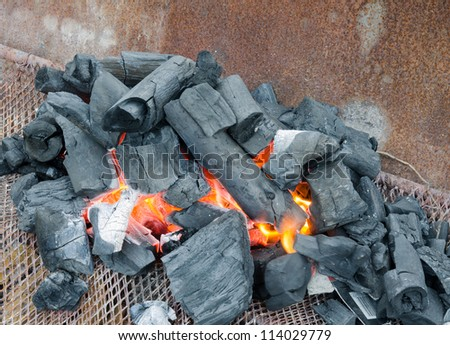 Red hot burning charcoal preparing for grilling,barbecue grill