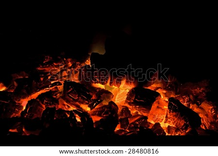 Red hot charcoal fire
