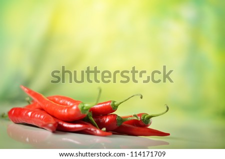 red hot chili pepper against green background