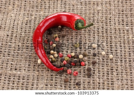 Red hot chili pepper on sackcloth