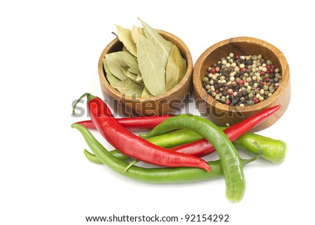 Red hot chili peppers and spices