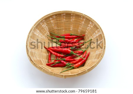 Red Hot Chili Peppers in the basket over white background.