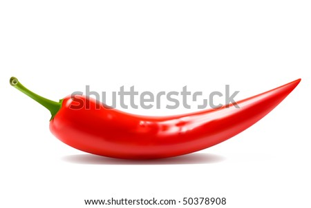 Red hot chili peppers on white background. raster version