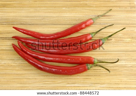 Red hot chili peppers on wooden background