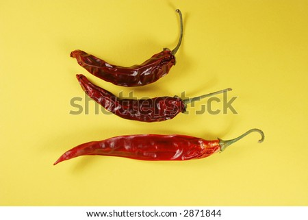 Red hot chili peppers on yellow background
