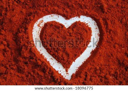 Red hot chilli heart - stock photo