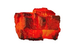 Red hot coal bar isolated on white background. Red burning coal mine isolated on white close up. Raw coal nugget on fire for power and fuel  industry