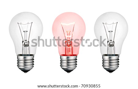 Red Hot Concept Idea - Two White and One Red Lightbulb Isolated on White Background