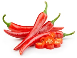 Red hot natural chili pepper. Chili clipping path. Organic fresh chili pepper isolated on white. Full depth of field