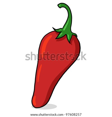 Red hot pepper illustration; Isolated red hot chili pepper drawing