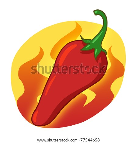 Red hot pepper illustration; Red hot chili pepper drawing; Red pepper on fire
