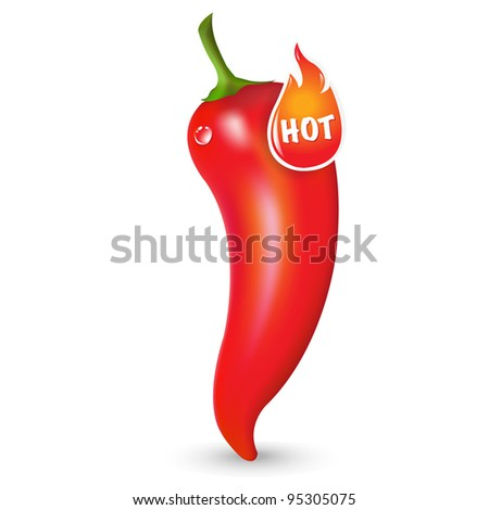Red Hot Pepper With Label, Isolated On White Background