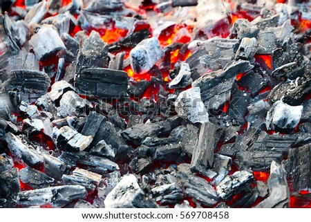 red-hot pieces of coal and the flames in the brazier for cooking food #569708458