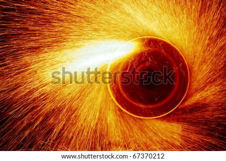 Red hot sparks at grinding steel material