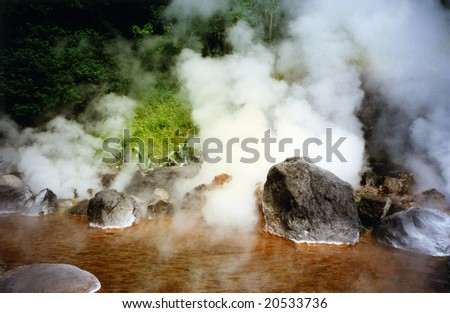 red hot spring in  Japan