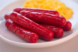Red Hotdogs Plate American Meal