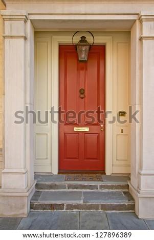 Red house door