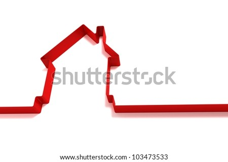 red house from ribbons isolated on white background
