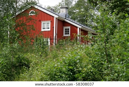Red house in a forest