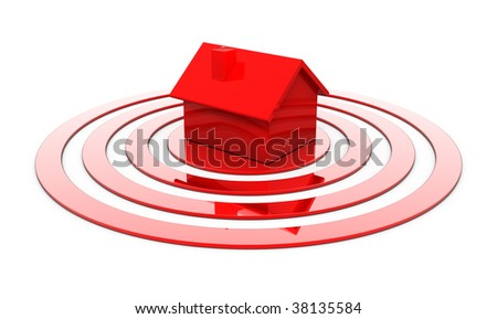 Red house in the center of the target