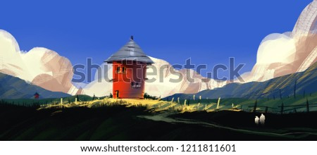 red house on hill with meadow against blue sky and puffy clouds, digital illustration art painting design style. (wide screen)