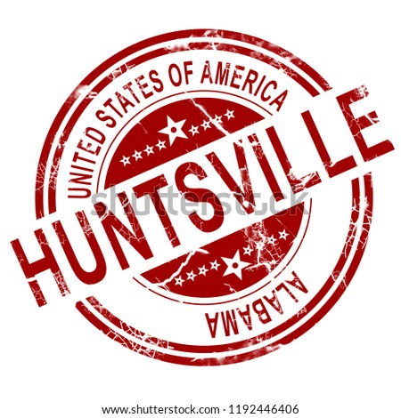 Red Huntsville stamp with white background, 3D rendering
